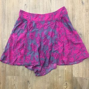 Free People electric pink floral shorts